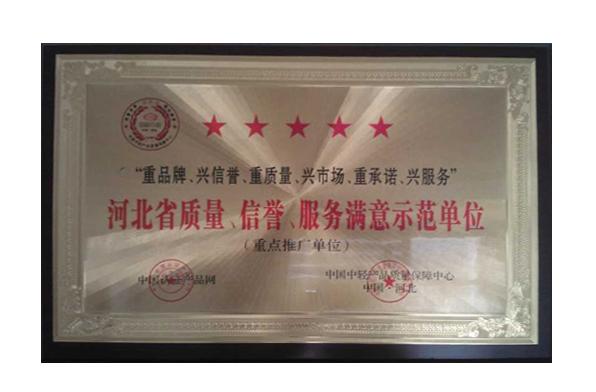 河北省質量、信譽、服務滿意示范單位