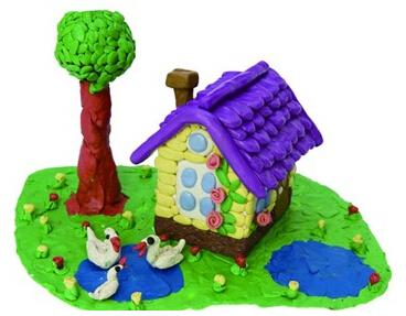 幼儿橡皮泥彩泥作品:小房子