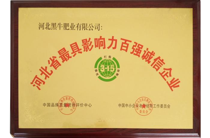 河北省最縣影響力百強誠信企業
