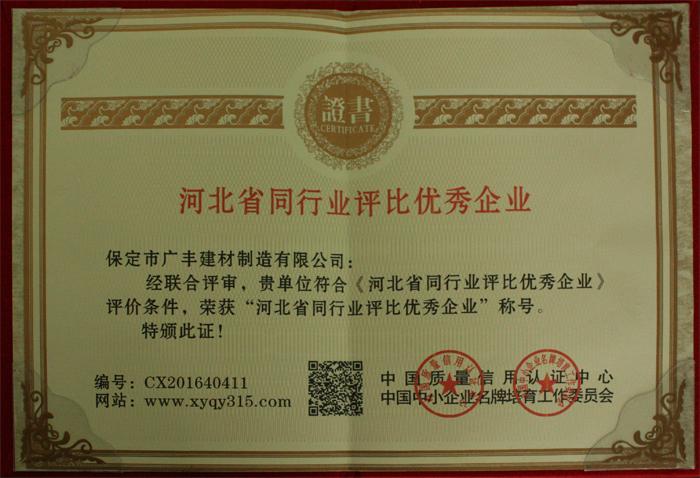 河北省同行业评比优秀企业