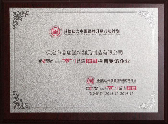 诚信助力中国品牌升级行动计划央视诚信档案栏目受访企业