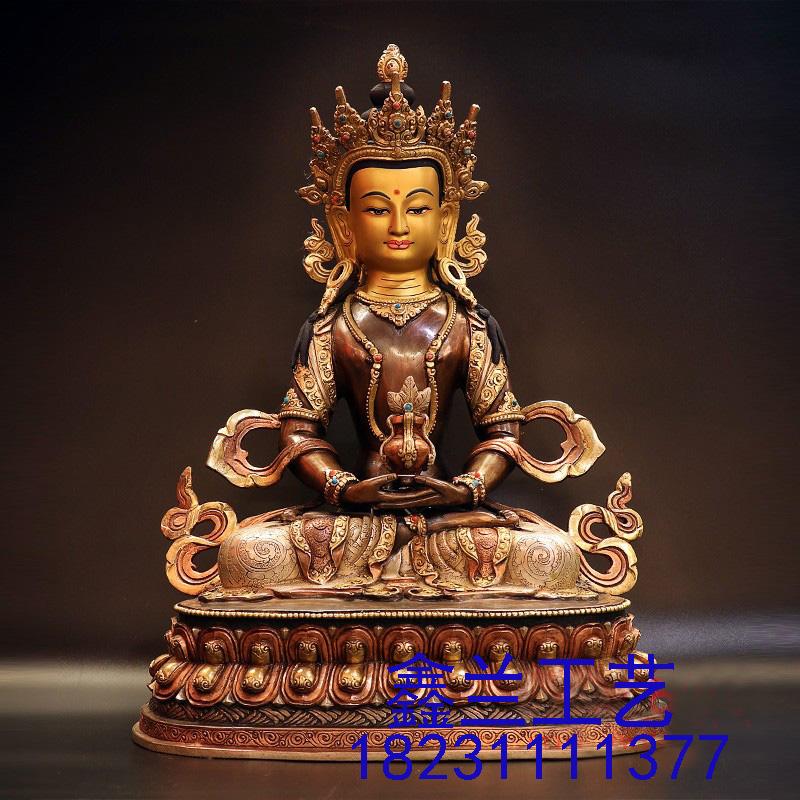 藏传铜佛---- 长寿佛铜像 藏传密宗长寿佛铜佛像