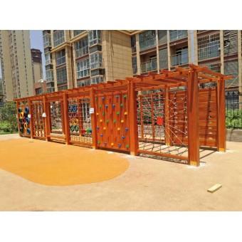 廊坊幼儿园木制户外组合滑梯设计安装