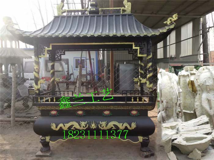 长方形全铜雕香炉 大型铸铁香炉厂家寺庙香炉宝鼎定制八龙柱寺院香炉