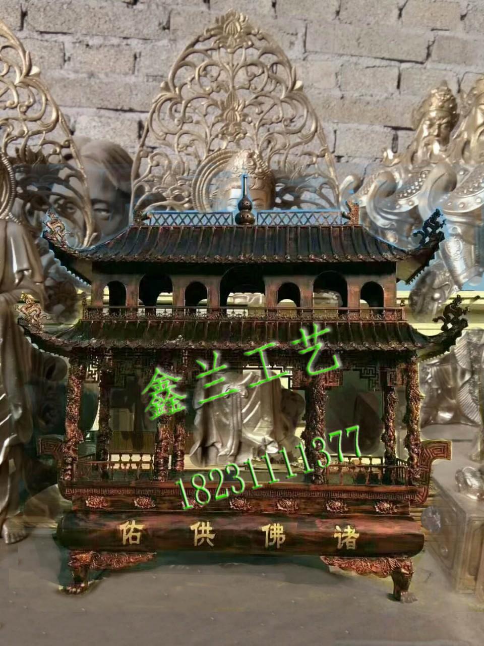 寺庙铸铁长方形四龙柱香炉景区宗祠寺院大型带盖香炉佛道教铜香炉