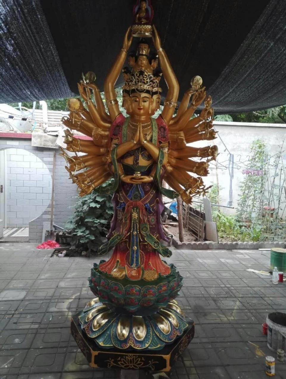铜雕千手观音像、千手观音铜像厂家、铜制千手观音价格铜雕佛像