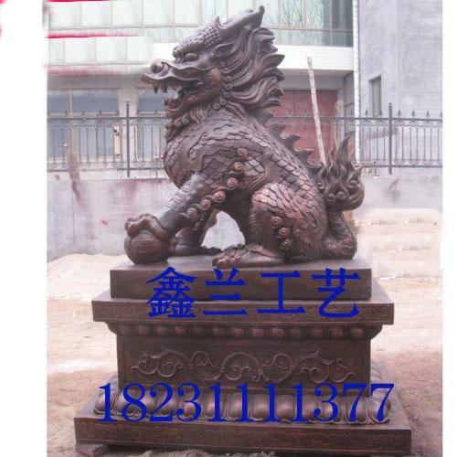 铜雕麒麟是上古中国人最企望出现的吉祥动物带鞍火麒麟动物铸造