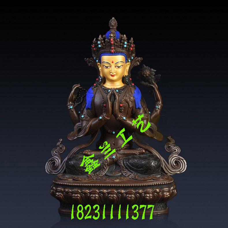 藏传佛像四臂观音菩萨铜像 四臂观音造像象征什么青铜四臂观音菩萨像