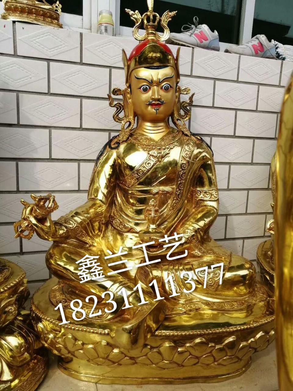 大型莲花生大士铜佛像鎏金莲师铜像 面相庄严的密宗佛像