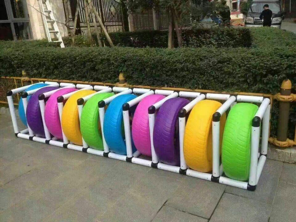 高邑幼儿园彩色轮胎架